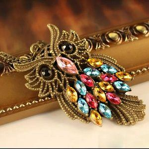 Vintage colorful rhinestone bronze owl necklace